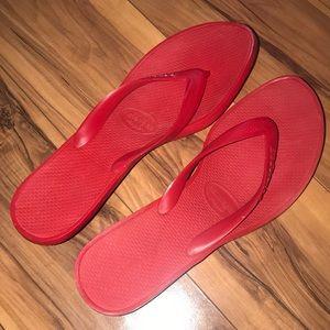 Red Kitten Heel Flip Flops